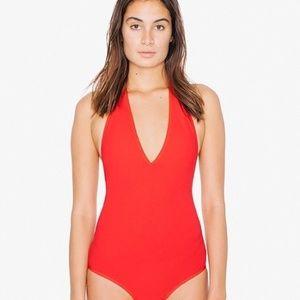 American Apparel Red Halter Bodysuit, Large